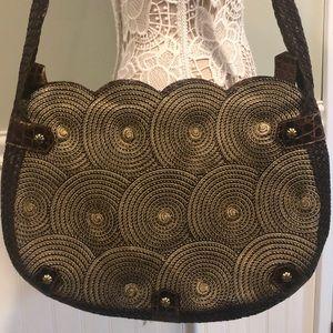 Eric Javit's Large Straw & Leather Shoulder Bag